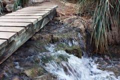 Bridge through the stream. The bridge through a rough stream in mountains Stock Images