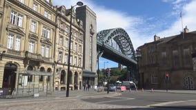 Bridge and street. British street and bridge on tyne river stock video footage