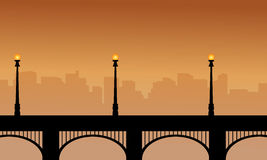 Bridge with street lamp silhouettes beauty scenery. Illustration royalty free illustration