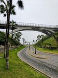 Bridge of Street. A bridge leading over a street heading to the Pacific Ocean in Lima Peru Royalty Free Stock Photography