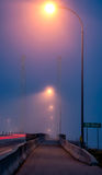 Bridge Street Lights in the Fog Royalty Free Stock Photos