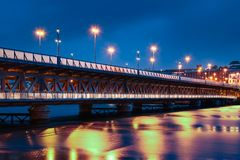 Craigavon Bridge. Derry Londonderry. Northern Ireland. United Kingdom. Craigavon Bridge over the river Foyle at night. Derry Londonderry. Northern Ireland Royalty Free Stock Photography
