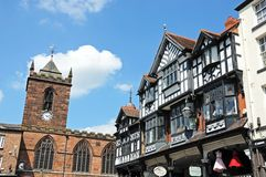 Bridge Street Shops and church, Chester. Stock Photography