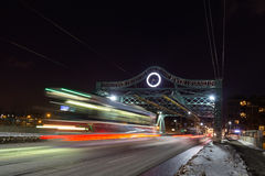 Bridge and Streetcar in Toronto at Night Royalty Free Stock Photography