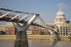 Bridge stretching towards St Pauls Cathedral. Bridge stretching over the river Themes towards St Pauls Cathedral Royalty Free Stock Photos