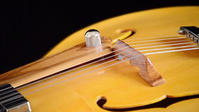 Bridge, strings and efes of a jazz electric guitar rotating. Classic Electric Guitar Jazz Rotating in Horizontal stock video footage