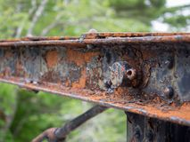 Bridge structural steel rusting due to old age Royalty Free Stock Photo