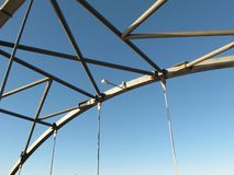 Bridge Structure against blue sky. Bridge structure with light fixture against blue sky Royalty Free Stock Photos