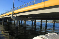 Bridge structure in gold coast surfers paradise. Design construction of a bridge on pillars in Nerang river, Gold coast, Australia Royalty Free Stock Photography