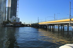 Bridge structure in gold coast surfers paradise. Design construction of a bridge on pillars in Nerang river, Gold coast, Australia Stock Photos