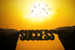 Bridge with success word on mountain Royalty Free Stock Photography