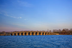 The bridge in summer palace beijing spring peach royalty free stock photo