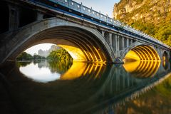 Bridge with sunlit underside royalty free stock images