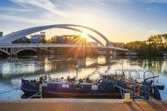 Bridge at sunrise Stock Image