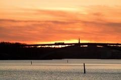 Bridge at sunset. Royalty Free Stock Photos