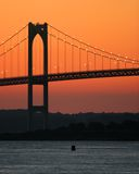 Bridge Sunset. Newport Bridge royalty free stock images