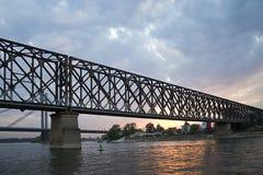 Bridge At Sunset. Silhouette of a bridge in Belgrade at sunset Stock Images