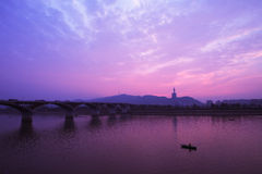Bridge in sunset Stock Image