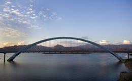 Bridge at sunset. Bridge over Roosevelt lake in arizona at sunset royalty free stock images
