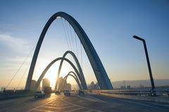 Bridge in sunset Stock Images