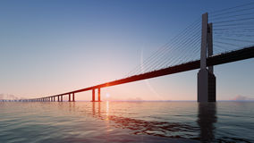 Bridge with sunset and big moon. 3D render Stock Photography