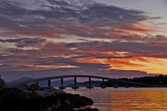 Bridge in sunset. Bolsøybrua bridge in Molde, Norway in a awesome sunset Royalty Free Stock Photo