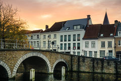 Bridge on the sunset in Bruges, Belgium Royalty Free Stock Photos