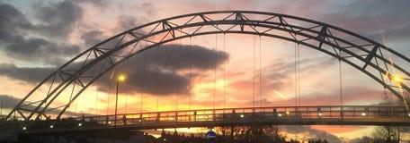 The bridge into the sunset. Cheltenham Waitrose 2017 Royalty Free Stock Photography
