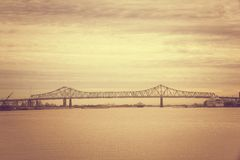 Bridge of sunset on Mississippi River in New Orleans Louisiana royalty free stock photos
