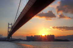 Bridge at sunset moment Royalty Free Stock Images