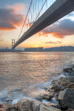 Bridge at sunset moment Stock Image