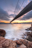 Bridge at sunset moment Stock Images