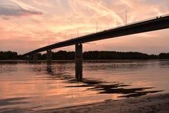 Sunset over the river Danube. Bridge in the Sunset over the river Danube, Hungary stock photography