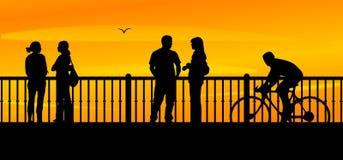 Bridge, Sunset, People, City Royalty Free Stock Photos