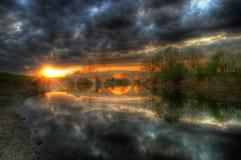 Bridge near Balgarene in sunset time Royalty Free Stock Photography