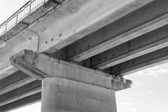 Bridge support. Big reinforced concrete bridge support Royalty Free Stock Photo