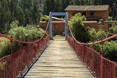 The bridge. The suspension bridge linking to the other bank of the river royalty free stock photos