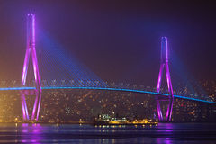 Bridge. Suspension bridge in the night from illumination in the city of Busan of South Korea Stock Images