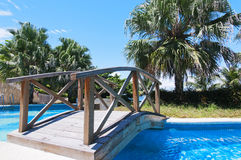 Bridge  on  Swimming pool Royalty Free Stock Images