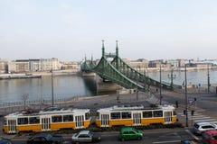 Bridge szabadsag. Tram on bridge szabadsag view from Royalty Free Stock Photography