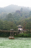 Bridge and temple in the haze in the Dujiangyan mountain stock photos