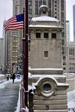 Bridge Tender's House. This is a Winter picture on a snowy day of the bridge tender's house located on the northeast corner of the Michigan Avenue Bridge Royalty Free Stock Photography
