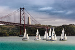 The bridge of 25th April in Lisbon Stock Photo