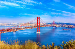 Bridge of 25th April over river Tajo, Lisbon Royalty Free Stock Photography
