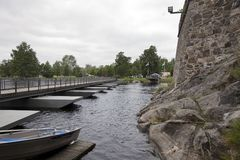 Bridge from the 15th-century medieval castle wall Olavinlinna Olofsborg in Savonlinna, Finland.  stock image