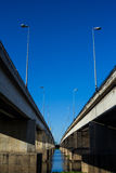 Bridge Thailand blue sky strong. Perspective Royalty Free Stock Images