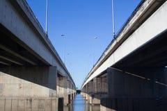 Bridge Thailand blue sky strong. Perspective Royalty Free Stock Photos