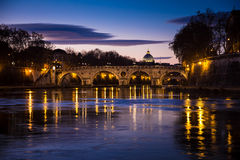Bridge on Tiber river - Sunset in Rome Stock Photos