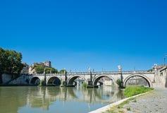 Bridge on Tiber river in Rome, Italy Stock Image