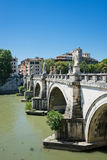 Bridge on Tiber river in Rome, Italy Royalty Free Stock Images